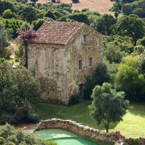 Vue aerienne, Maison Nivara, Domaine de Murtoli, Corse du Sud (2A), France
