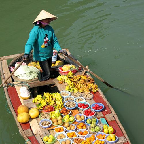 Les marchandes de fruits sillonnent la baie en barque